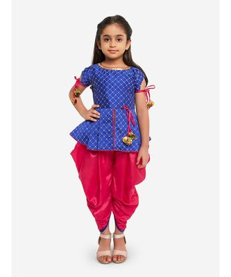 BLUE EMBROIDRED WORK SHORT KURTI WITH DHOTI