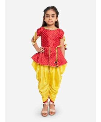 RED EMBROIDRED WORK SHORT KURTI WITH DHOTI