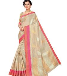 Tan woven polycotton saree with blouse