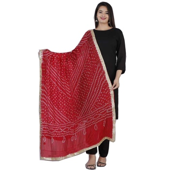 Women's rayon Solid Black printed kurti with Black Pant & Bandani print red duptta with lace border