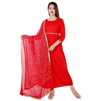 Women's rayon  Red embroidery work  kurti with Bandani print red duptta with lace border