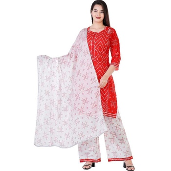 Women's rayon  Red printed work  kurti with  printed  duptta with palazzo