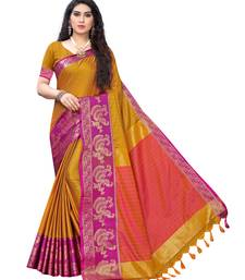 Mustard woven poly silk saree with blouse