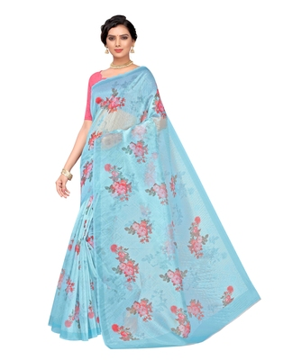 Blue printed organza saree with blouse