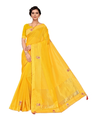 Yellow embroidered poly cotton saree with blouse