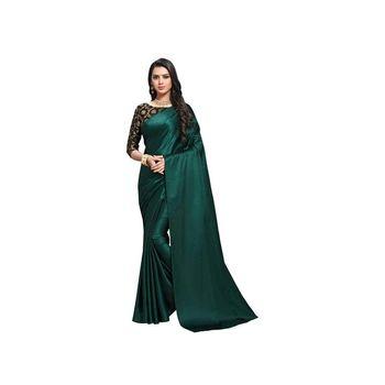 Dark green plain fancy fabric saree with blouse