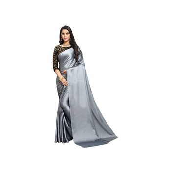 Slate grey plain fancy fabric saree with blouse