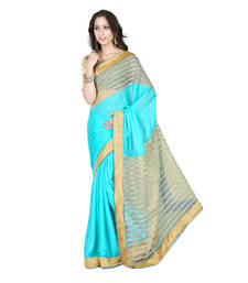 Buy light blue embroidered satin saree with blouse party-wear-saree online