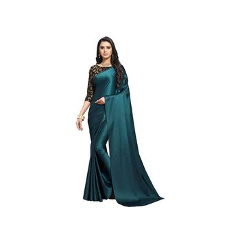 Dark turquoise plain fancy fabric saree with blouse