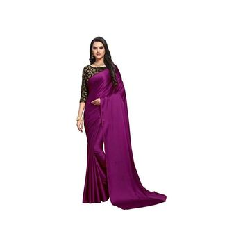 Dark wine plain fancy fabric saree with blouse