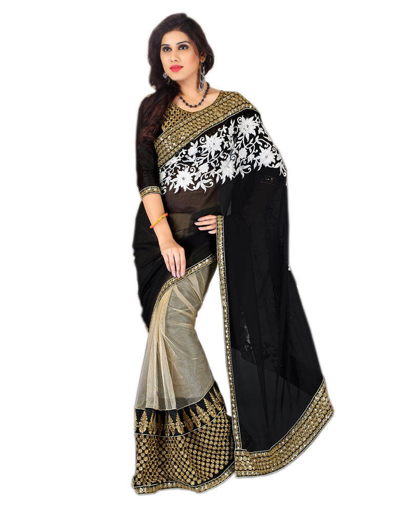 01861a7804 black and white embroidered net saree with blouse - Jahnavi creation ...