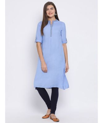 Blue plain Cotton kurti