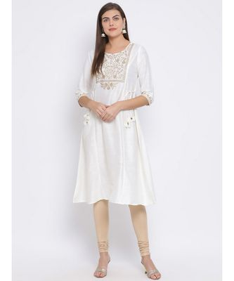 White Embroidered Cotton kurti