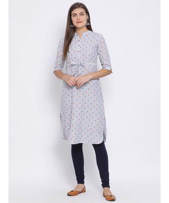 Grey Floral Print Cotton kurti