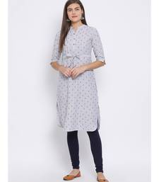Grey Floral Print Cotton kurti
