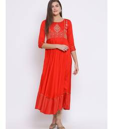Red Embroidered Cotton kurti