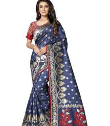 Blue embroidered tissue saree with blouse