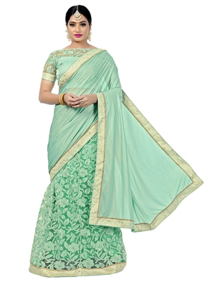 Green embroidered viscose saree with blouse