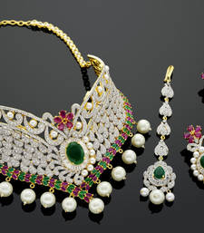 Buy BEAUTIFUL ZIRKON STONE STUDDED COLOUR NECKLACE SET designer-jewellery online