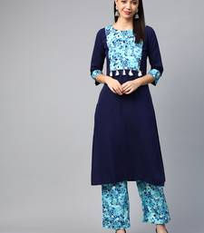 Navy-blue printed crepe kurtas-and-kurtis