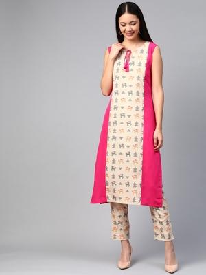 Pink printed crepe kurtas-and-kurtis