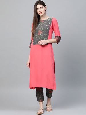 Coral printed crepe kurtas-and-kurtis