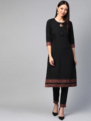 Black printed crepe kurtas-and-kurtis