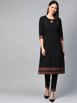 Black printed crepe kurtas-and-kurtis