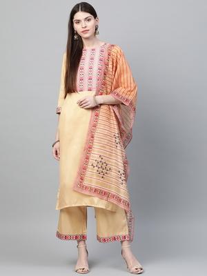 Cream printed art silk kurtas-and-kurtis