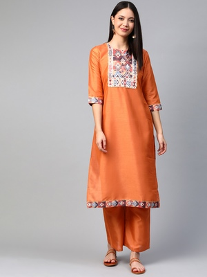 Orange printed art silk kurtas-and-kurtis
