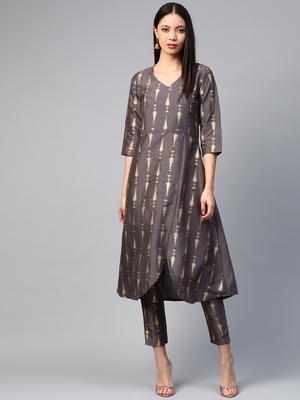 Grey printed art silk kurtas-and-kurtis