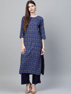 Navy-blue printed rayon kurtas-and-kurtis