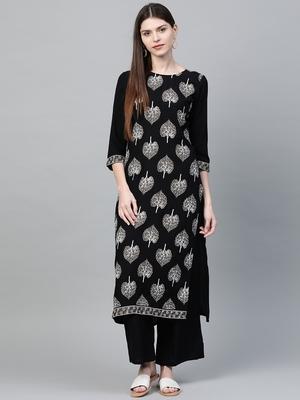 Black printed rayon kurtas-and-kurtis