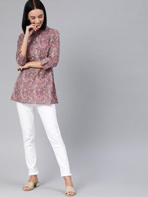 Grey printed cotton tunics