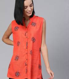 Orange printed cotton tunics