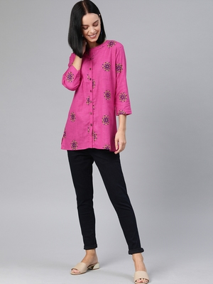 Pink printed cotton tunics