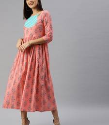 Peach printed cotton short-dresses