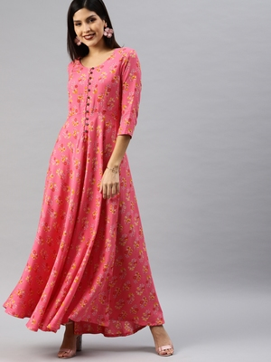 Peach printed viscose rayon long-dresses