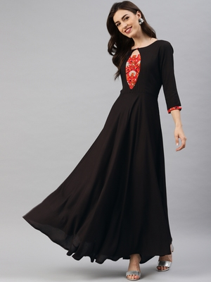 Black plain viscose rayon long-dresses