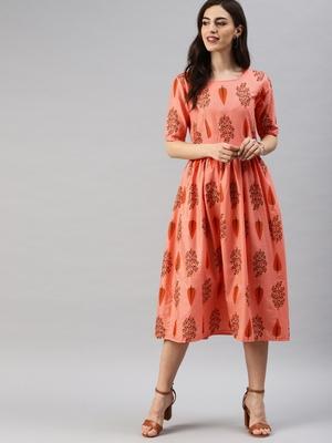 Pink printed cotton short-dresses