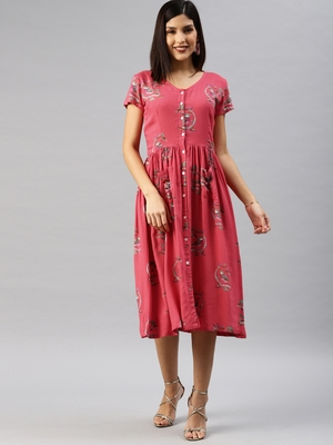 Red printed viscose rayon short-dresses
