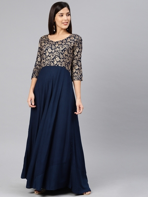 Navy-blue printed viscose rayon long-dresses