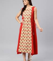 Red printed cotton short-dresses