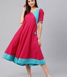 Pink woven cotton long-dresses