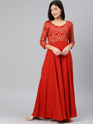 Red printed viscose rayon long-dresses