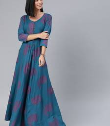 Blue printed viscose rayon long-dresses