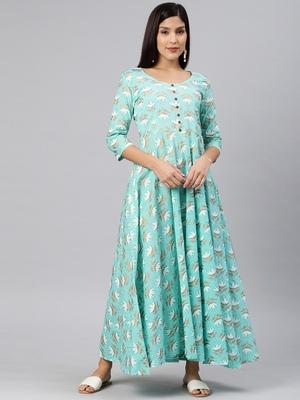 Blue printed viscose rayon long-dresses