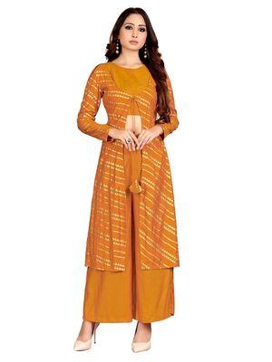 Yellow printed cotton party-wear-kurtis