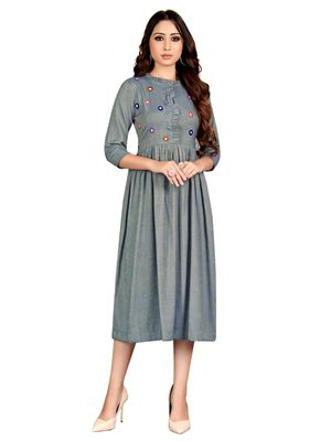 Grey embroidered rayon party-wear-kurtis