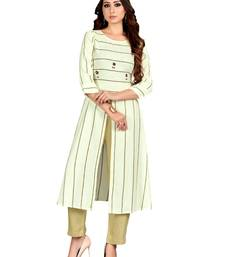 Off white embroidered cotton party-wear-kurtis